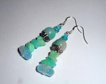 """Sea ice"" earrings - aquamarine, aventurine, azurite, 925 Silver - Al ""Celtic""."