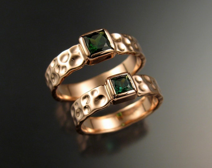 Green Tourmaline square Moonscape two ring His and Hers matching Emerald substitute Wedding rings set in14k Rose Gold  in your size