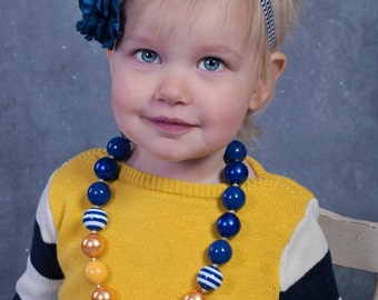 Navy Blue and Mustard Yellow chunky bubblegum statement necklace, baby, toddler, girls,  women, bridesmaid, flower girl, birthday, gift