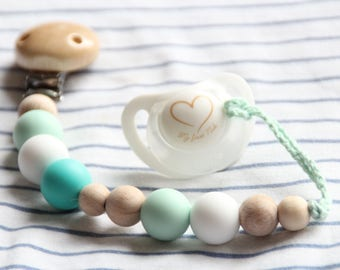 Mint silicone pacifier clip / Dummy chain / Stylish teething pacifier holder / Beads are safe for teething