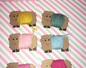 Yarn on sheep cutouts- Handmade!!