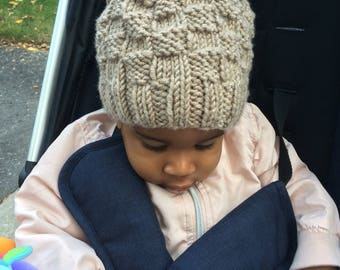 Basketweave Knit Hat, size Preemie to Adult, shown in size 6-12 months, made to order, see pic 6 for colours