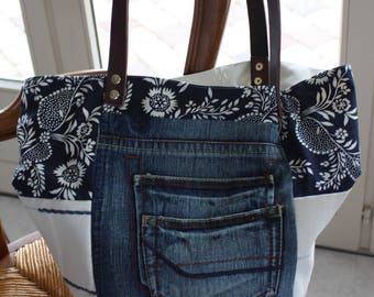 Blue Denim tote bag, fabric, ecru, blue floral, leather, reversible