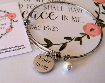 LDS Young Women Theme Peace In Me Bangle d&c 19:23 Peace in me