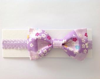 Japanese Fabric Bow Headband for Baby/Toddler, Ichimatsu, Sakura, Lavender