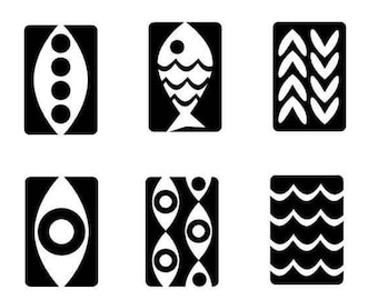 Rubber Stamps for Chalkboard Beads -- Fish set