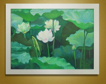 Oil Painting, Canvas Art, Original Painting On Canvas, Landscape Painting Flower Art,  Lotus Painting Hand painted