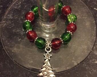 Handmade xmas tree wine glass charm