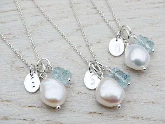 Pearl, Initial & Aquamarine Personalised Necklace - Sterling Silver