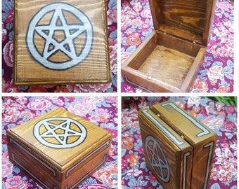 Silver Painted Pentacle Trinket Box