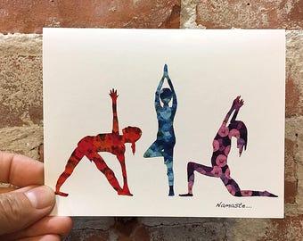 Yoga Cards - Yoga Art - Blank Inside - Yoga Stationary - Yoga gift - Art Card - Unique Yoga Card