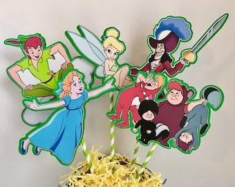 PETER PAN Centerpiece Picks Set of 5 (DOUBLE-sided)/Cake Toppers / Birthday Party / Decorations / Supplies / Decor
