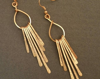 Hammered Copper Fringe Earrings