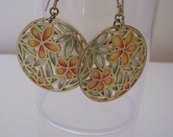 Earrings Plique-a-jour Acrylic Enamel Stained Glass Orange Flowers Pierced Drop Dangle