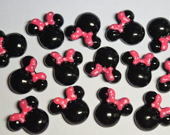 5 pc Black Mouse/Pink Bow Flatback Cabochon for Scrapbooking, DIY Projects, Cellphones, Crafts