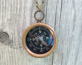 Gold Brass Working Compass Necklace Pendant
