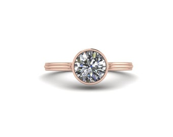 Solitaire Round Moissanite Ring, 14K Rose Gold, Bezel Set Round 1 Carat Moissanite, Promise Ring, RE147R