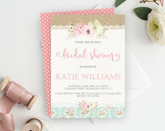 Bridal Shower Invite, Shabby Chic Invitation, Printable Invitation, Shabby Chic Shower Invitation, Vintage Invitation, Bridal Shower, Pink