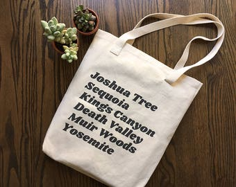 California National Parks / high quality / made in America / cotton tote bag / hiking / yosemite  / nature / outdoors / grocery bag