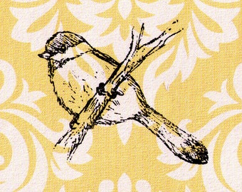 Bird Stamp: Chickadee on a Branch - Wood Mounted Rubber Stamp