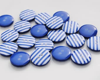 10 Blue Stripy Buttons (12mm)