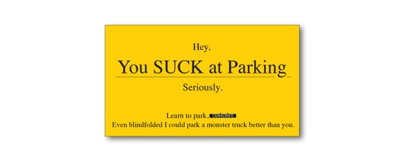 Funny gift for men you suck at parking business cards bad like this item colourmoves