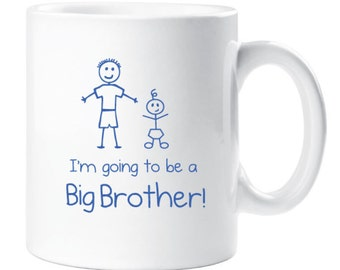 Big Brother Mug White With Blue Text Childrens Gift New Born Gift Im Going To Be A Big Brother Present