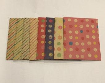 Kraft envelopes, Dot stripe envelopes, kraft stationery, snail mail, happy mail, handmade small envelopes, set of 8, patterned, spots