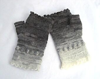 Gray and Cream Scalloped Fingerless Gloves crocheted feminine wrist warmers texting gloves