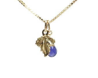 """Iolite and Leaves charm Necklace """"Tears of life"""" k14goldfilled ,charis,japan,gold,pendant,charm, gemstone"""