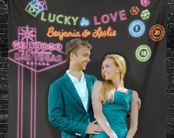 Lucky in Love Neon Lights Backdrop, Vegas Wedding Decor, Wedding Engagement Decorations, Bridal Shower Decorations // W-A57 BEC1 AA3