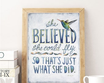 She Believed Sign, She Believed She Could So She Did, She Believed Print, Hummingbird, Inspirational Gift, Inspirational Gifts, Hummingbirds