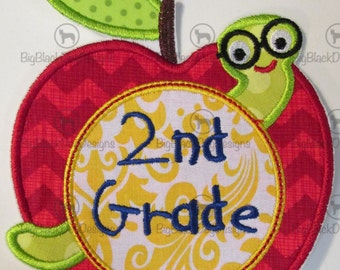 Iron On Applique - Book Worm Apple with Embroidered Grade
