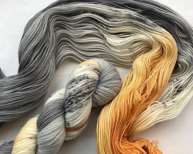 "100g Superwash Merino / Alpaca / Nylon Yarn 4 ply, fingering, sock, hand dyed in Scotland, orange grey speckles ""Halloween Moon"""
