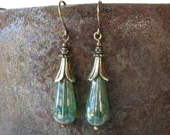 Blue green earrings - teardrop aqua Picasso Czech glass beads & antiqued brass