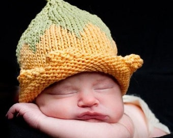 Flower Fairy Spring Hat, Knit Yellow Cotton Baby Hat great photo prop