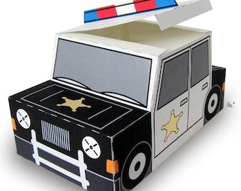 Plucky Police Car Gift Box printable favor/treat box