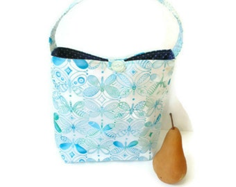 Lunch tote bag, blue butterflies, insulated lunch bag, teacher lunch, work lunch, reusable bag with handle, eco bag
