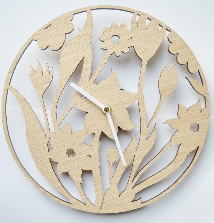 Floral Design Clock Laser Cut Clock Wooden Clock