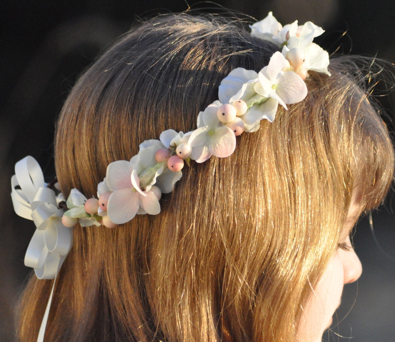 Flower Girl First Communion Sweet Pea And Blush Pink Berry
