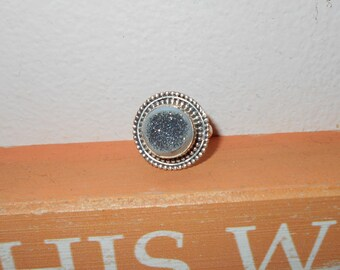 Vintage 925 sterling silver ring blue southwestern Druzy Statement jewelry bold chunky beautiful