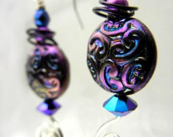 Purple blue earrings with crystals & sterling silver wire spirals - Earth in Change / cyber sale
