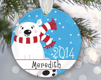Polar Bear Christmas Ornament Personalized Christmas Ornament Name & Date Gift for her Gift for him Custom Holiday Ornament OR110