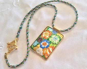 Cloisonné Kumihimo Pendant Necklace