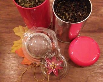 Candy Cane Peppermint Tea Set/Tea/Loose Leaf Tea/Loose Tea/Tea Gifts/Medicinal Herbs/Dried Herbs/Herbal Medicine/Organic/Witchcraft Supply