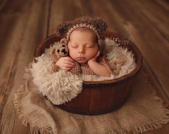Newborn Bear Hat - Teddy Bear - Newborn Photo Prop, Bear Bonnet, Crochet Teddy Bear. Baby Bear Hat, Teddy Bear Hat, Brown Bear