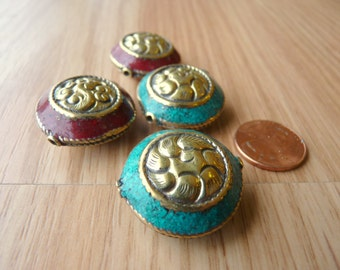 Brass Beads with Crushed Resin/Stone Inset