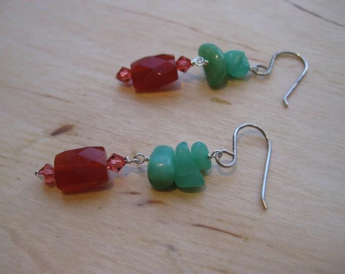 Insouciant Studios Lake Shasta Earrings Hemimorphite & Carnelian