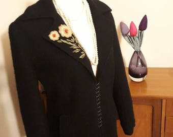 Embroidered boiled wool coat