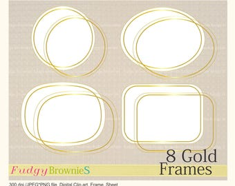 ON SALE Digital Gold frame,Gold circle line Frames clipart, digital scrapbooking frames gold A-1 ,  Instant download